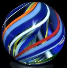"JODY FINE HANDMADE GLASS MARBLE/.898""-RAINBOW CUBSCOUT TRIPLE-BLUE,YELLOW,RED,LM"