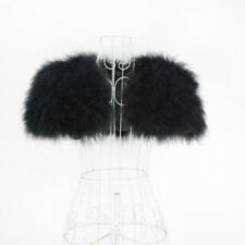 New Ostrich Feather Fur Poncho Wedding Stole Bridal Shawl Women Shrug 31264