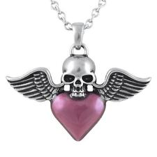 Skull Necklace with Winged Heart Pendant Stainless Steel Jewelry By Controse