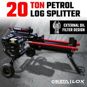 20 Ton Hydraulic Log Splitter Petrol Engine Fire Wood Axe Cutter Split Timber