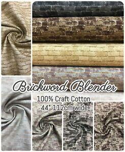 """BRICKWORK EFFECT BLENDER - 100% CRAFT COTTON FABRIC - 44"""" 112CM WIDE"""