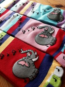 Toe Socks one size multicoloured stripe with elephants new with tags circus