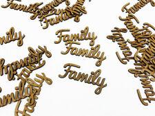 WOODEN MDF FAMILY SHAPE WORDS KIDS HOME WEDDING CRAFT DECORATION SET OF 10