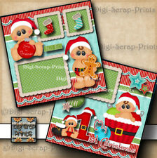 1ST CHRISTMAS baby 2 premade scrapbooking pages paper piecing DIGISCRAP #A0033