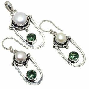 River Pearl, Peridot Gemstone Pendant+Earring Silver Jewelry Set RS346