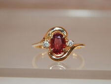 Gorgeous Red Natural Garnet Diamond Ring 14k Yellow Gold 1.07 tcw Engagement