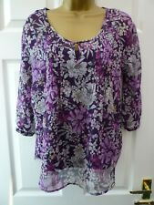 M&CO Ladies Size 8 Purple White 3/4 Sleeve Boho Smart 2 Piece Tunic Blouse Top