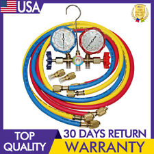 59 in R-410A Dual Manifold Diagnostic Gauges 3-Colors Coded Charging Hoses Hvac