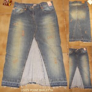 Gonna In Jeans Zu Element's Lunga Dal Ginocchio Scura Slavata Taglia 44 W30