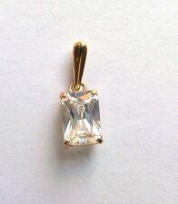 9ct Gold Emerald cut Cubic Zirconia Pendant