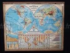 B632  French Vintage School WORLD MAP TIME ZONE America Africa Ocean Asia Europe