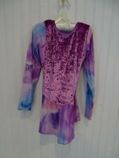 Purple & Blue Velvet Figure Ice Skating Dress Costume girls 8-10