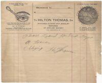 1910s Brunswick Georgia Watches Clocks Glasses & Eye Exams Billhead