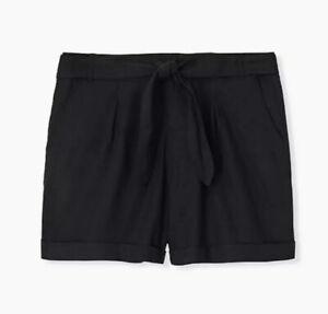 New Torrid Womans Linen Blend Shorts Self Tie Size 10 Pockets Black NWT