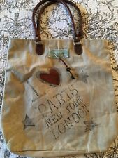 Trendy!! Canvas vintage style carry all hand bag Paris London New York preppy
