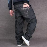 Mens Jeans Black Denim Baggy Loose Casual Fashion Pants Hip-Hop Punk Trousers