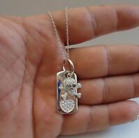 925 STERLING SILVER DOG TAG & SKULL/BONE NECKLACE PENDANT W/ 2 CT LAB DIAMONDS