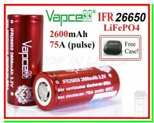 2 Batterie Pila Ricaricabile VAPCELL IFR 26650 2600mah 3,2v 75A LiFePo 4 + case