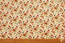 Rosa / oilva & Turquesa Estampado Floral - Tela Poli Algodón Estampada