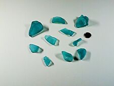 SEA TURQUOISE GLASS, CHUNKY SHAPES. 10 PIECES.