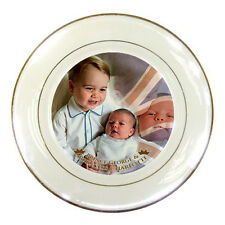 Princess Charlotte and Prince George of Cambridge Royal Baby Porcelain Plate !
