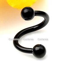 """1x Black Steel 3/8"""" Flexo Twist Cartilage Nose Lip Ring Earring Stud Piercing"""