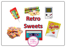 4 x  Large Happy Birthday Retro Sweet Birthday Box Party Bag Sweet Cone Stickers