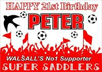 Walsall Birthday Poster Banner | Boy Girl | Personalised Name Football |TP199