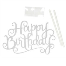 Hot Gold Silver Cake Topper Happy Birthday Card Party Supplies Charm Decors New