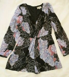 T by BETTINA LIANO Black Floral PLAYSUIT Size 10 Romper Long Sleeves Pink White