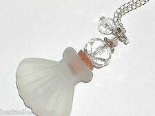 1pc Clear Glass Crystal Shell perfume Bottle cork pendant vial charm Necklace *