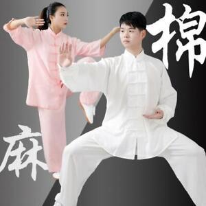 Linen Chinese Kung Fu Tai Chi Uniform Martial Arts Wushu Suit Outfit Men Women