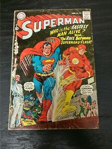 1967 DC COMICS SUPERMAN #199 VG+ SUPERMAN FLASH RACE SILVER AGE KEY ISSUE