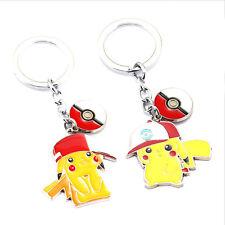 3D Pokemon Go Pikachu With Hat Ball Keychain Metal Keyring Key Chain Ring