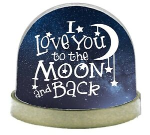 I Love You to the Moon and Back Snow Globe  - Gold Base Snow Globe Glitter Dome
