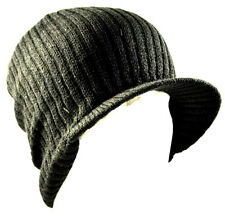 Decky Black Solid Campus Jeep Cap Visor Beanie Ski Cap Caps Hat Hats Toque