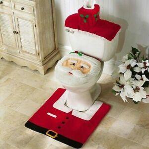 Merry Christmas Toilet Seat +Cover Santa Claus Bathroom Mat Christmas Home Decor