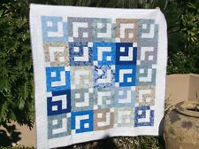Handmade patchwork Quilt. Blue and white box in a box (#18)