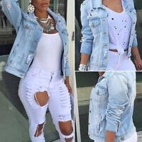 FASHION Womens Ladies Oversized Boyfriend Outwear Ripped Denim Jeans Jacket Coat