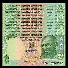 Lot 10 PCS, India 5 Rupees, 2001-2011, P-88A, UNC, 1/10 Bundle