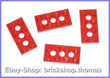 Lego 4 x Platte (2 x 4) Lochplatte - 3709b rot - Red Plate 3 Holes - NEU / NEW