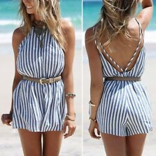 Women Summer Beach Style Backless Romper Vertical Stripe Strappy Jumpsuits