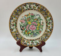 Nicely Painted Chinese Export Rose Canton Butterfly Plate 19th Century - 7.25""