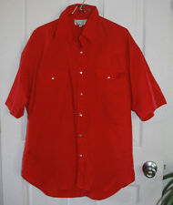 Austin Outfitters Pearl Snap Western Shirt Medium Red Cotton Blend Short Sleeve
