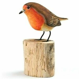 Robin Hand Carved Painted Bird Wood Log Tree Stump Wooden Figure Ornament