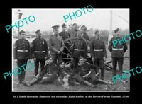OLD POSTCARD SIZE PHOTO THE SOUTH AUSTRALIAN MILITARY FIELD ARTILLERY c1908
