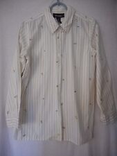 Size S Denim & Co White Tan Striped butterfly and flowers Embroidered Blouse