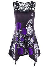 Plus Size XL-5XL Gothic Women Tank Top Vest Lace Butterfly Tunic Racerback Tee