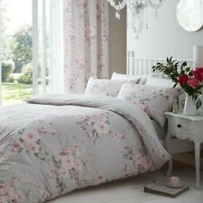 Canterbury Roses Grey Double Size Duvet Quilt Cover Bedding Set With Pillowcases