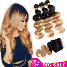 Brazilian 2Tone Ombre 1B/27 Body Wave 3Bundles With Closure Human Remy Hair Soft